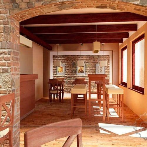 3d интерьер кафе в стиле лофт